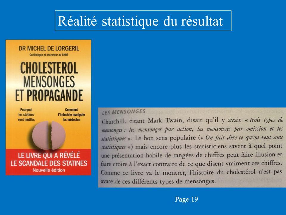 Réalité statistique du résultat Page 19