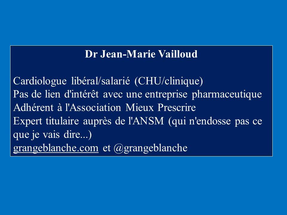 Dr Jean-Marie Vailloud Cardiologue libéral/salarié (CHU/clinique) Pas de lien d'intérêt avec une entreprise pharmaceutique Adhérent à l'Association Mi
