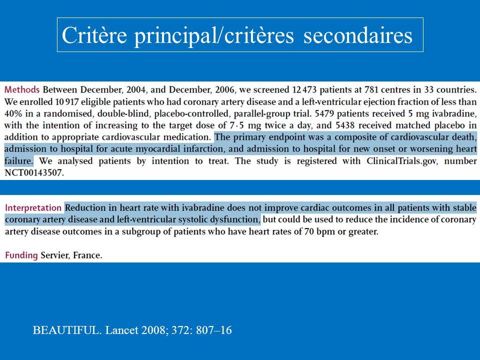 Critère principal/critères secondaires BEAUTIFUL. Lancet 2008; 372: 807–16