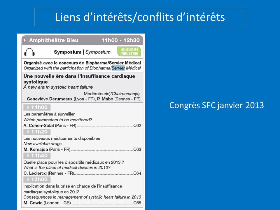 Congrès SFC janvier 2013 Liens dintérêts/conflits dintérêts