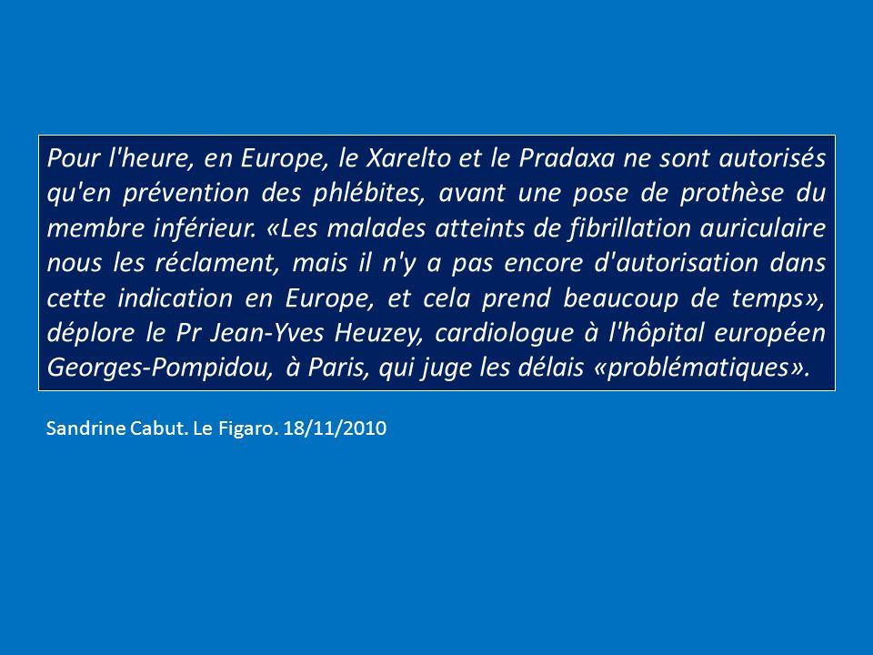 Pour l'heure, en Europe, le Xarelto et le Pradaxa ne sont autorisés qu'en prévention des phlébites, avant une pose de prothèse du membre inférieur. «L