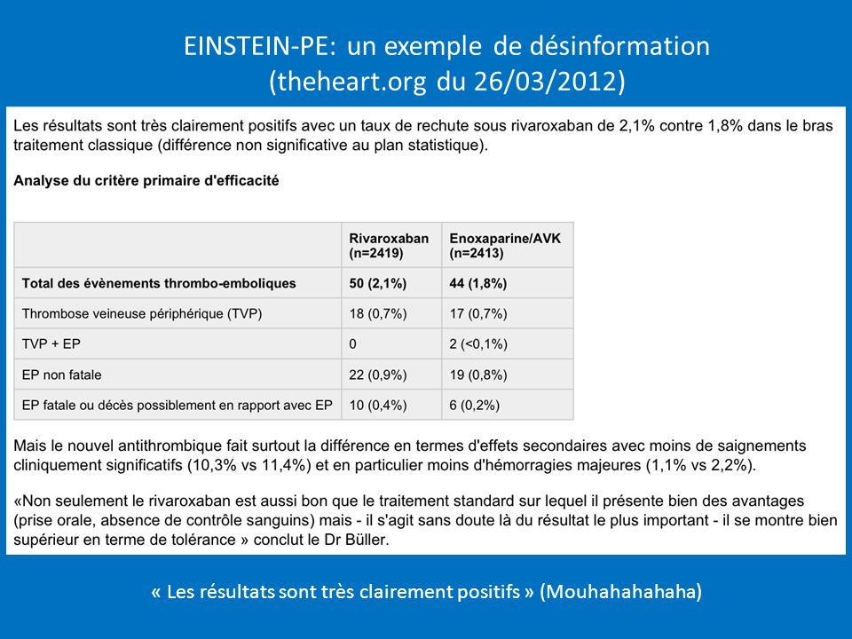EINSTEIN-PE: un exemple de désinformation (theheart.org du 26/03/2012) « Les résultats sont très clairement positifs » (Mouhahahahaha)