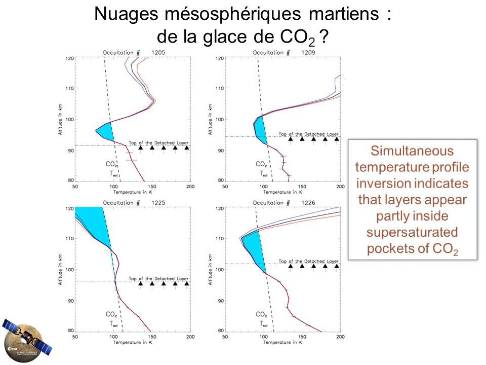 Nuages mésosphériques martiens : de la glace de CO 2 ?