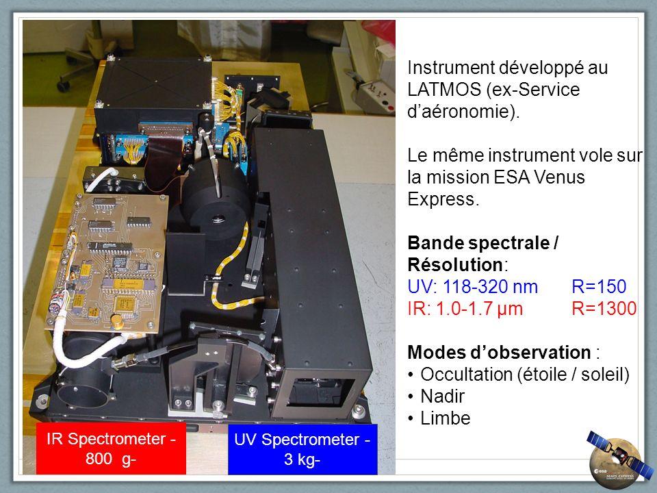 Instrument développé au LATMOS (ex-Service daéronomie). Le même instrument vole sur la mission ESA Venus Express. Bande spectrale / Résolution: UV: 11