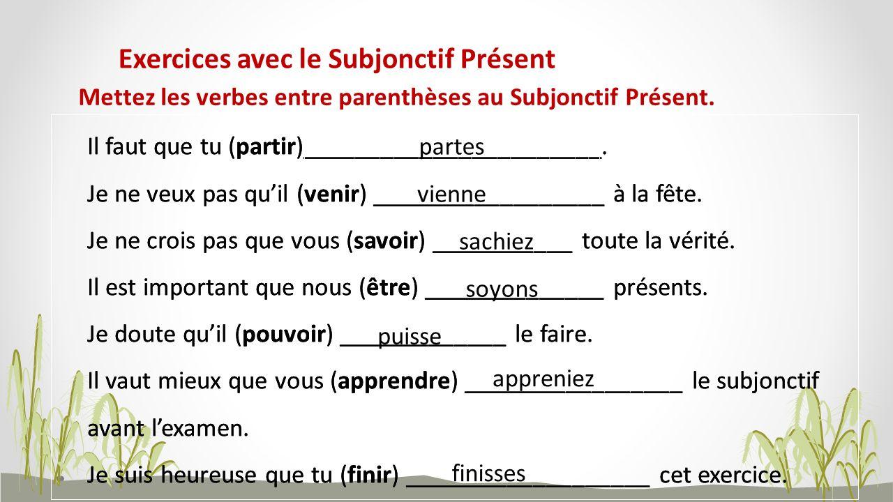 Mettez les verbes entre parenthèses au Subjonctif Présent. Exercices avec le Subjonctif Présent Il faut que tu (partir)_______________________. Je ne