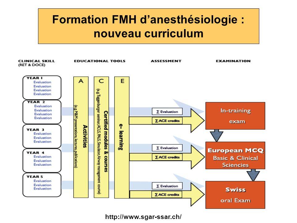 Formation FMH danesthésiologie : nouveau curriculum http://www.sgar-ssar.ch/