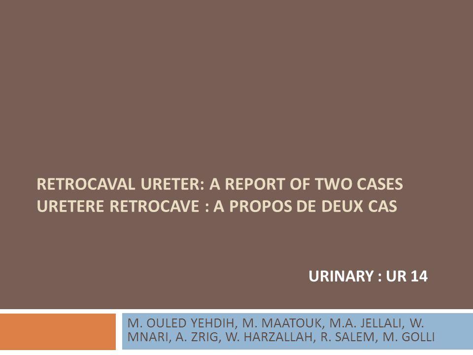 RETROCAVAL URETER: A REPORT OF TWO CASES URETERE RETROCAVE : A PROPOS DE DEUX CAS M. OULED YEHDIH, M. MAATOUK, M.A. JELLALI, W. MNARI, A. ZRIG, W. HAR