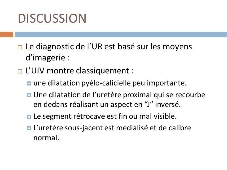 DISCUSSION Le diagnostic de lUR est basé sur les moyens dimagerie : LUIV montre classiquement : une dilatation pyélo-calicielle peu importante. Une di