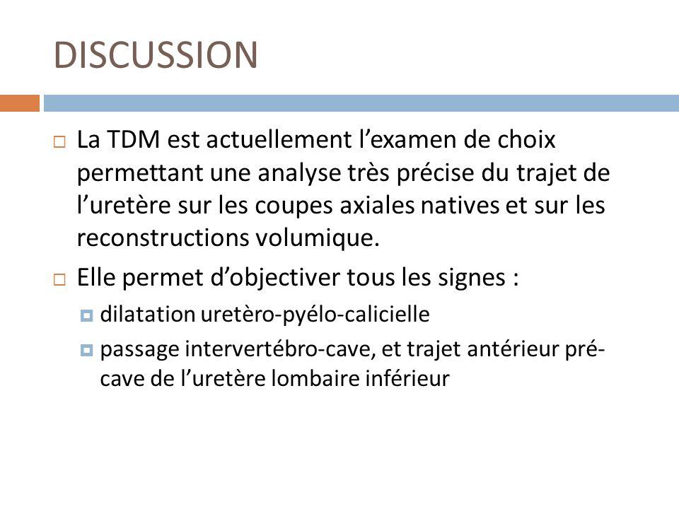 DISCUSSION La TDM est actuellement lexamen de choix permettant une analyse très précise du trajet de luretère sur les coupes axiales natives et sur le