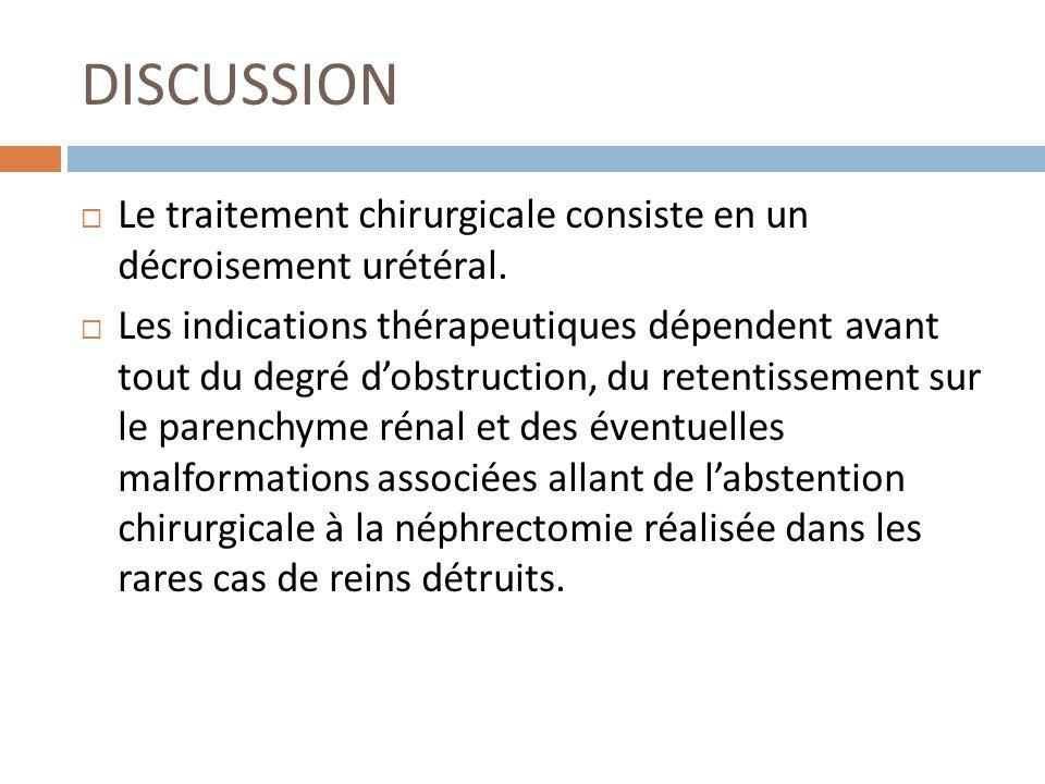 DISCUSSION Le traitement chirurgicale consiste en un décroisement urétéral. Les indications thérapeutiques dépendent avant tout du degré dobstruction,