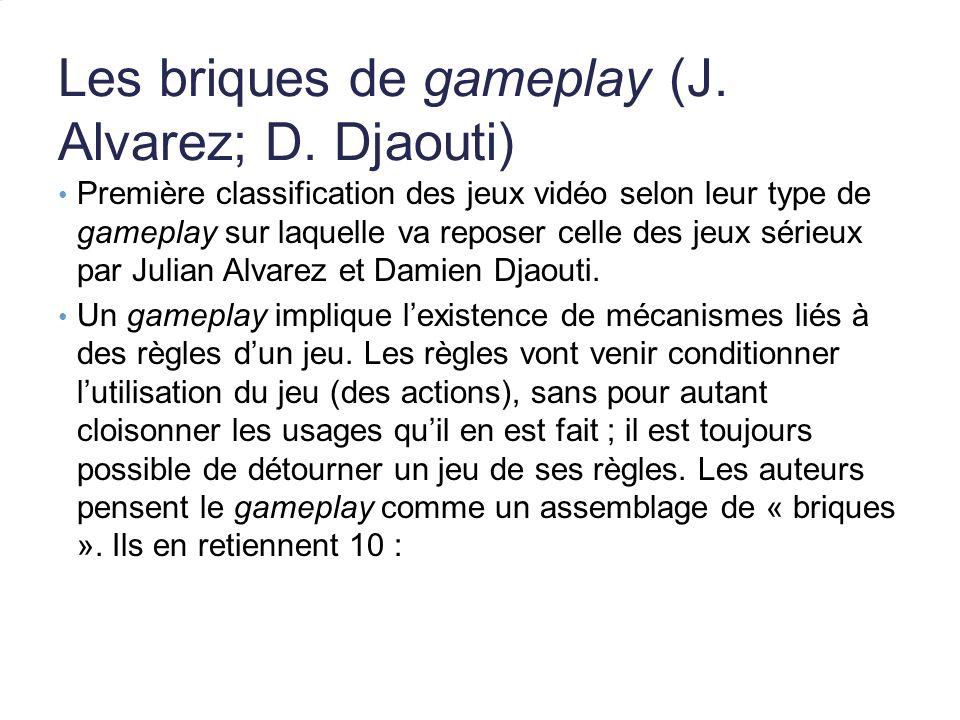 Les briques de gameplay (J. Alvarez; D. Djaouti) Première classification des jeux vidéo selon leur type de gameplay sur laquelle va reposer celle des