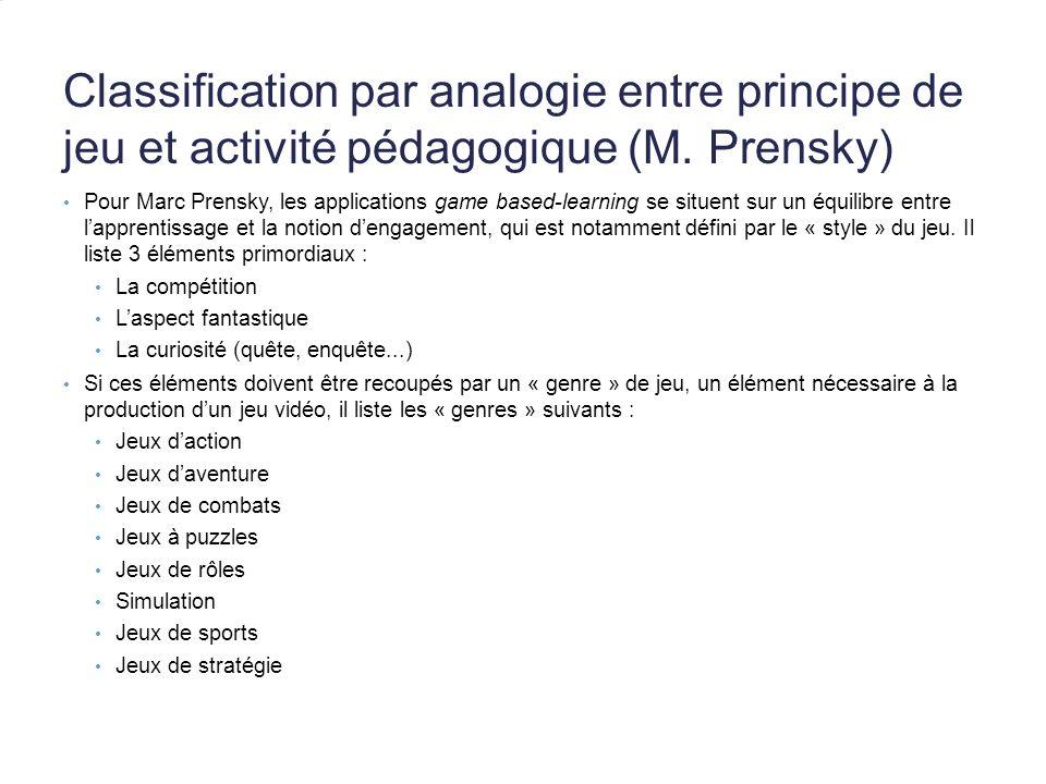 Classification par analogie entre principe de jeu et activité pédagogique (M. Prensky) Pour Marc Prensky, les applications game based-learning se situ