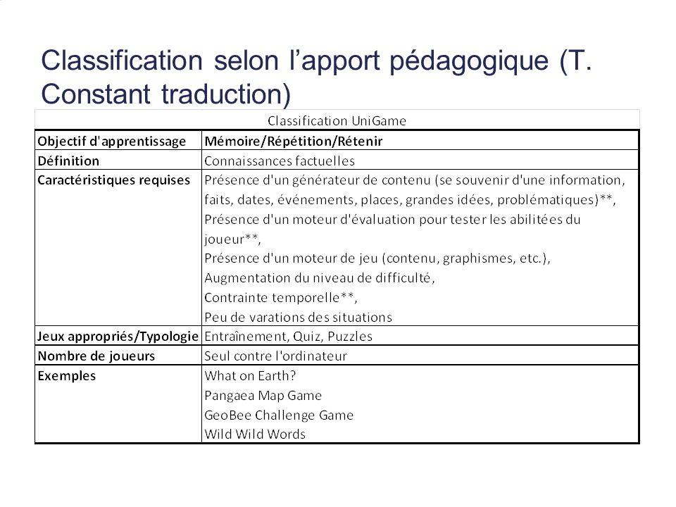 Classification selon lapport pédagogique (T. Constant traduction)