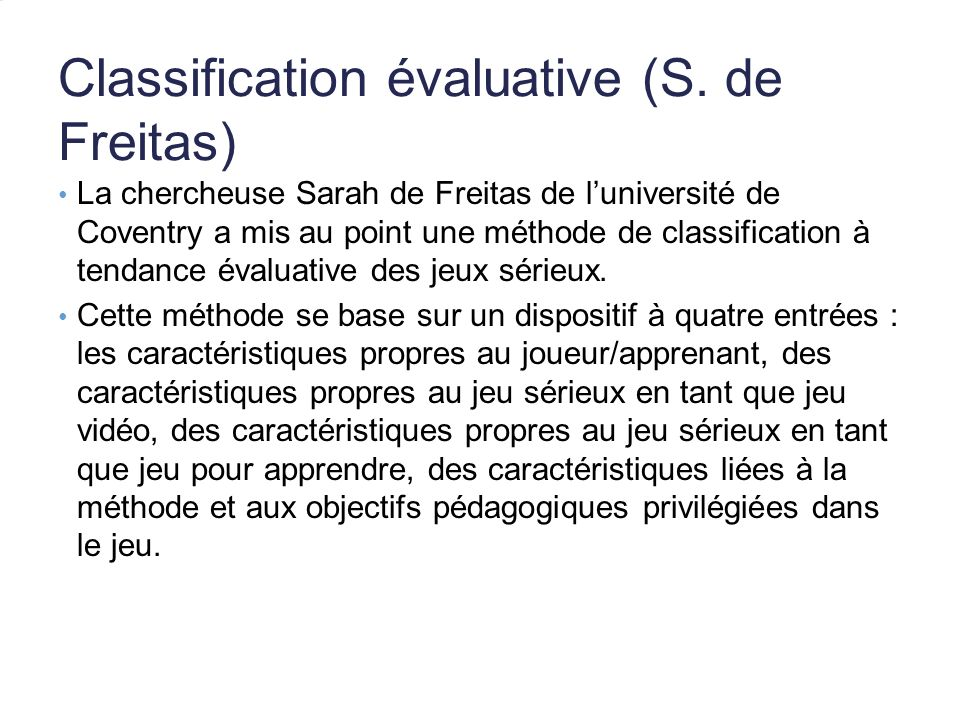Classification évaluative (S.