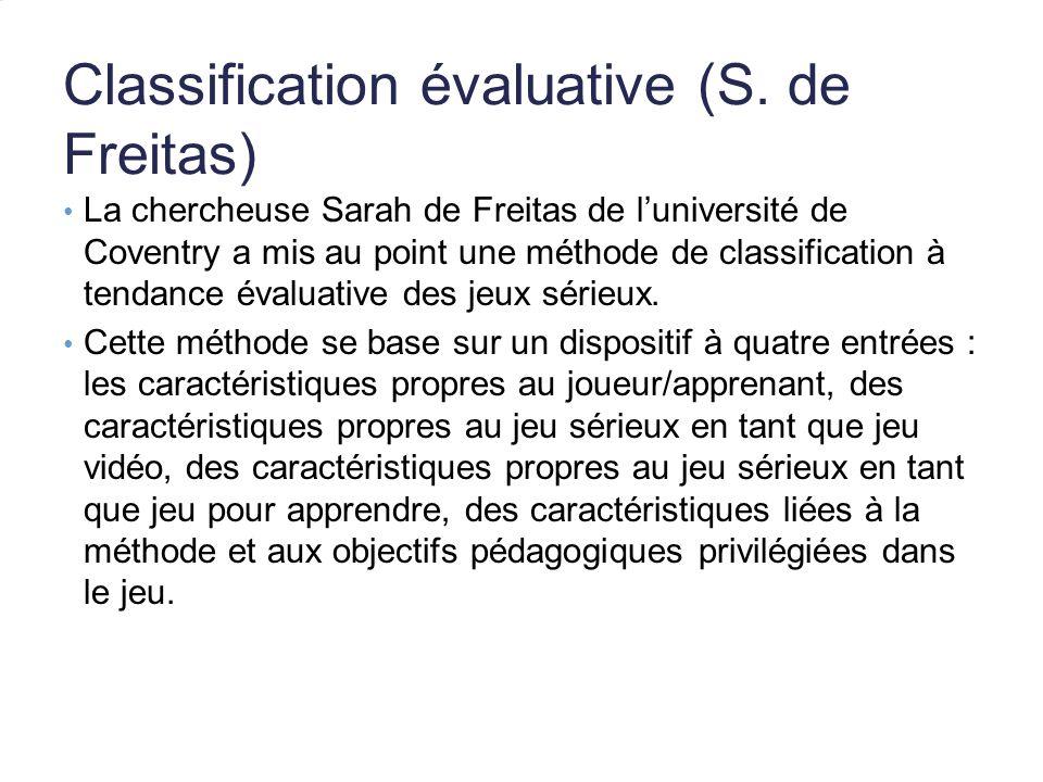 Classification évaluative (S. de Freitas) La chercheuse Sarah de Freitas de luniversité de Coventry a mis au point une méthode de classification à ten