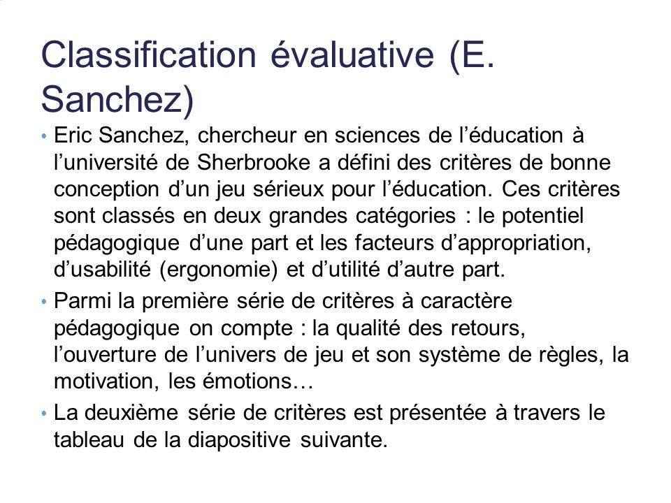 Classification évaluative (E.