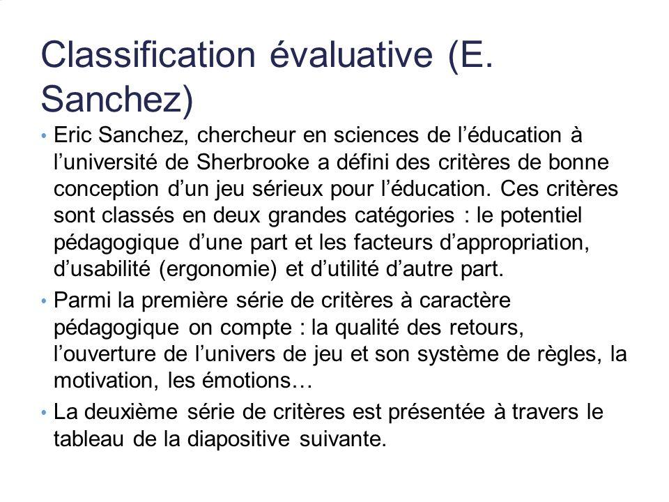 Classification évaluative (E. Sanchez) Eric Sanchez, chercheur en sciences de léducation à luniversité de Sherbrooke a défini des critères de bonne co