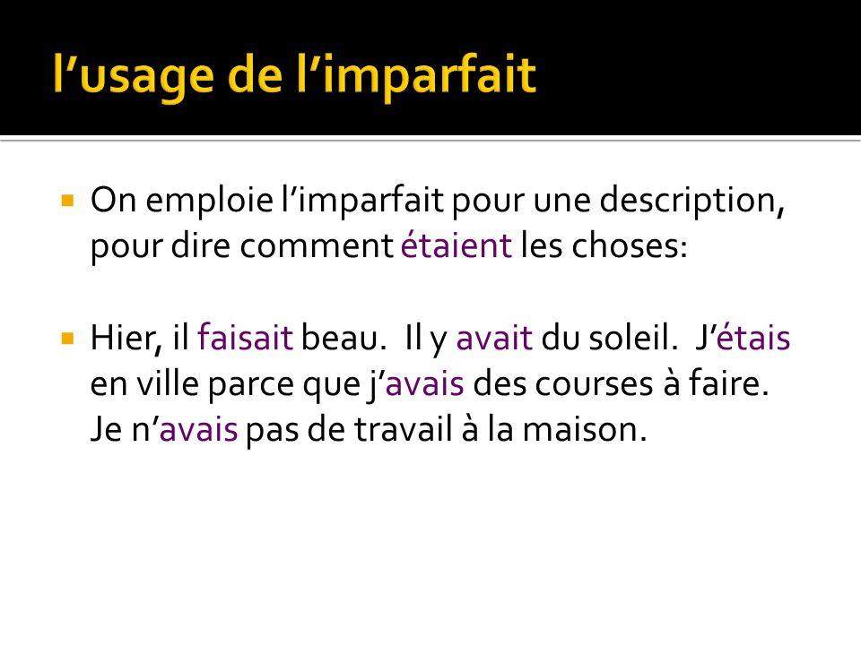 é jouer joué demander demandé parler parlé The past participle stays the same while the form of avoir OR être changes according to the subject.