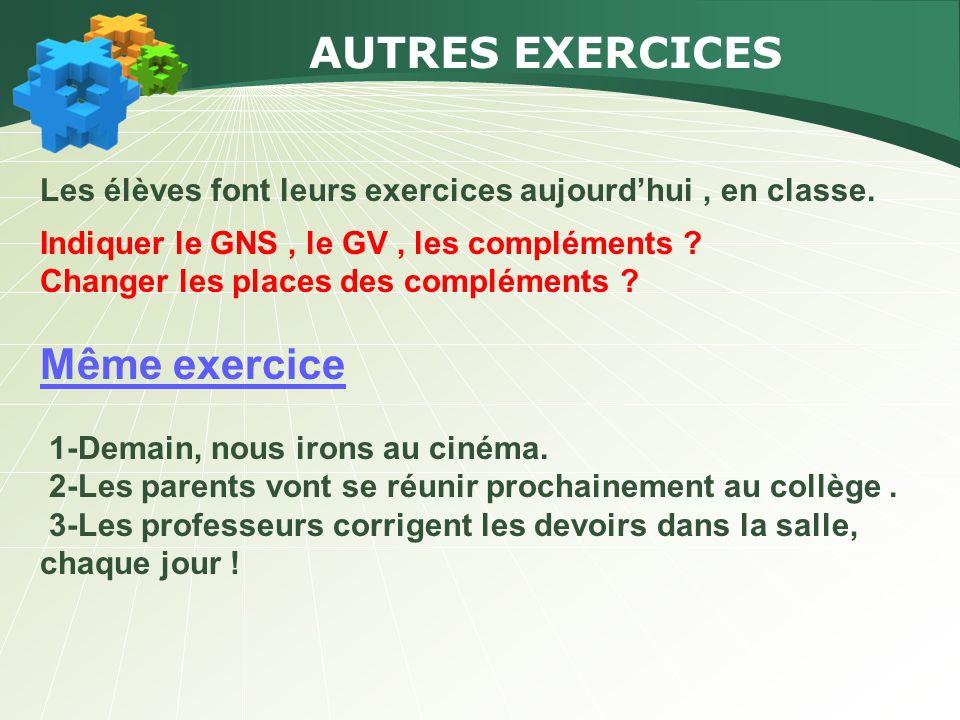 AUTRES EXERCICES Les élèves font leurs exercices aujourdhui, en classe. Indiquer le GNS, le GV, les compléments ? Changer les places des compléments ?