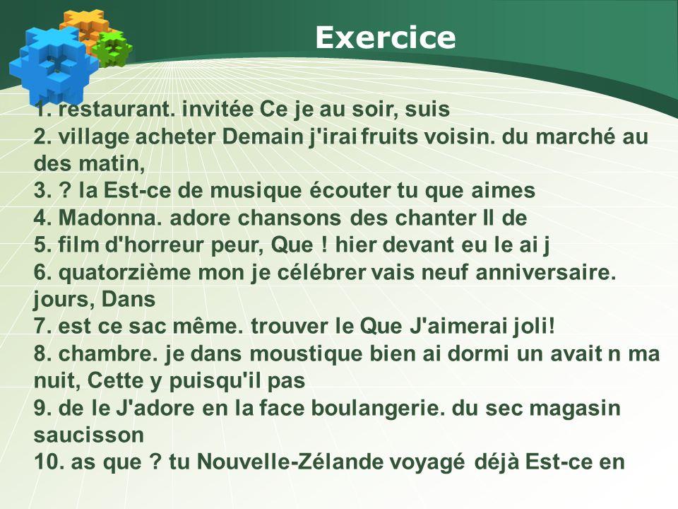 Correction de lexercice 1.CE SOIR, JE SUIS INVITÉE AU RESTAURANT.
