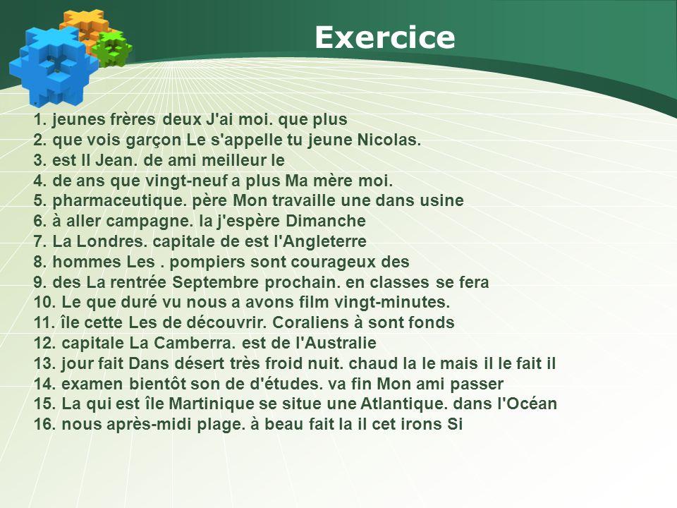 Correction de lexercice 1.:J AI DEUX FRÈRES PLUS JEUNES QUE MOI.