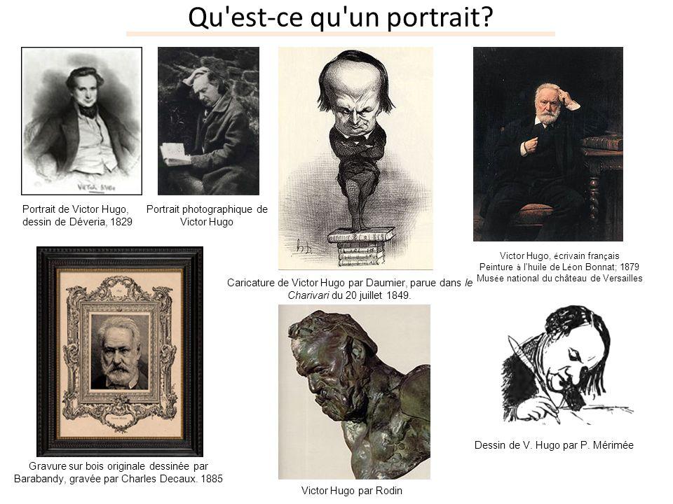 Qu'est-ce qu'un portrait? Portrait de Victor Hugo, dessin de Déveria, 1829 Portrait photographique de Victor Hugo Caricature de Victor Hugo par Daumie