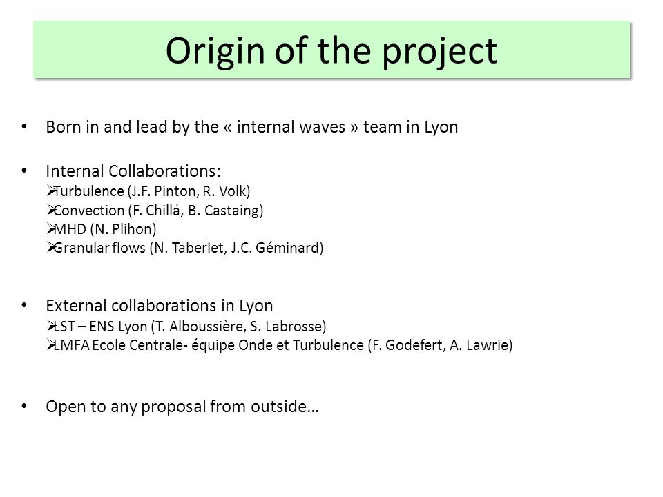 Origin of the project Born in and lead by the « internal waves » team in Lyon Internal Collaborations: Turbulence (J.F.