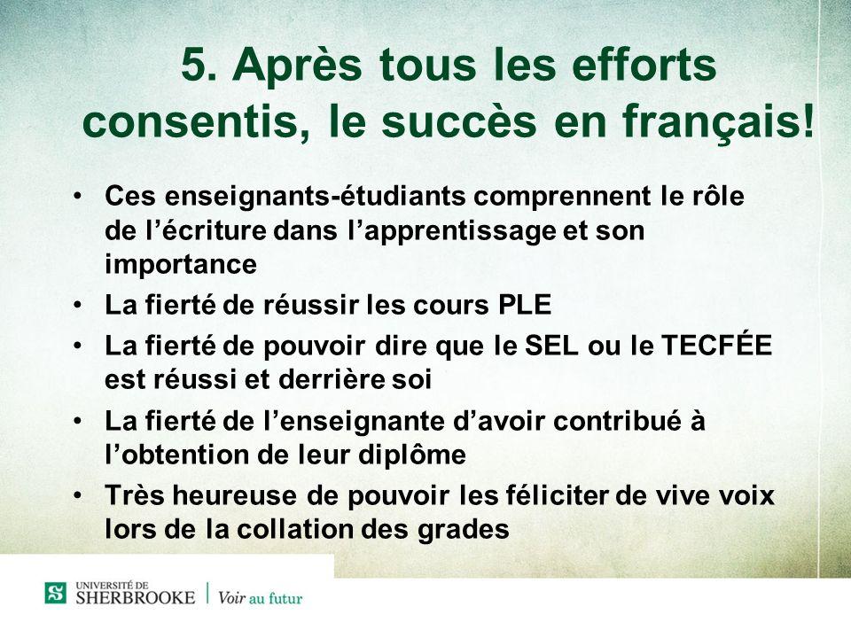 5. Après tous les efforts consentis, le succès en français! Ces enseignants-étudiants comprennent le rôle de lécriture dans lapprentissage et son impo