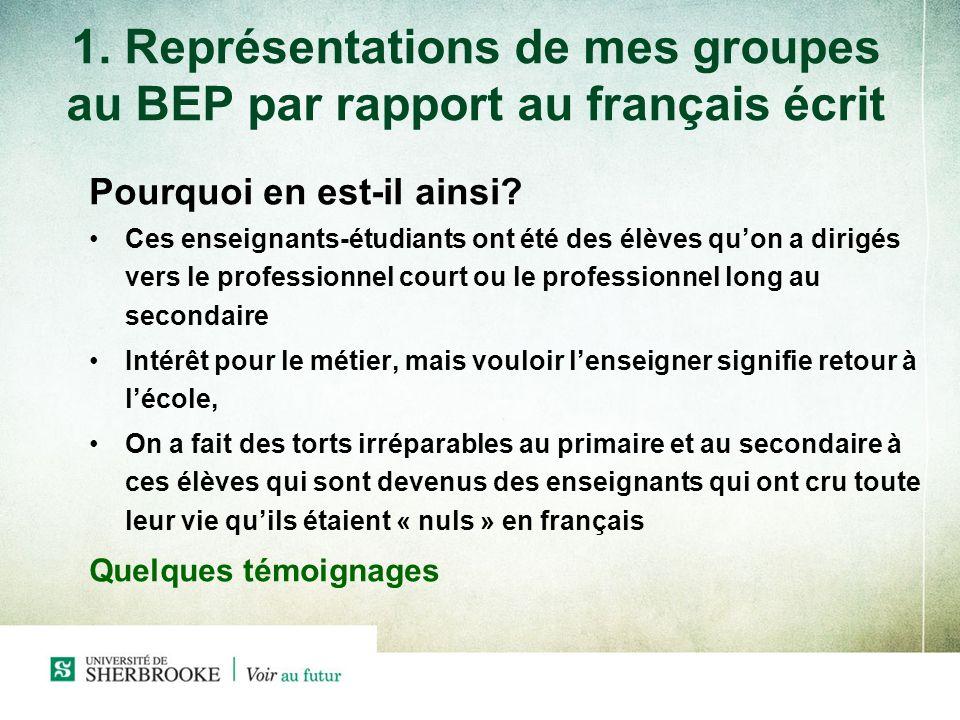 1. Représentations de mes groupes au BEP par rapport au français écrit Pourquoi en est-il ainsi? Ces enseignants-étudiants ont été des élèves quon a d