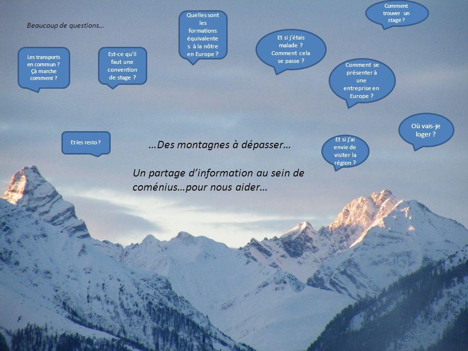 …Des montagnes à dépasser… Un partage dinformation au sein de coménius…pour nous aider… Beaucoup de questions… Comment trouver un stage ? Comment se p