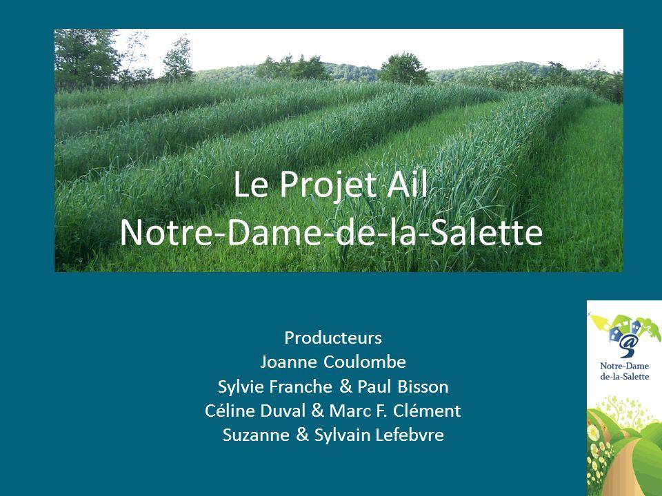 Projet Ail Engagement des producteurs Nous nous engageons à implanter les variétés dail sélectionnées dès lautomne 2010, afin dobtenir les premiers résultats dévaluation à lété 2011.