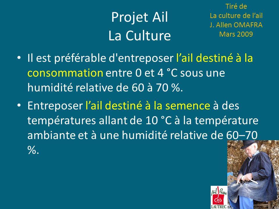 Projet Ail La Culture Il est préférable d'entreposer lail destiné à la consommation entre 0 et 4 °C sous une humidité relative de 60 à 70 %. Entrepose