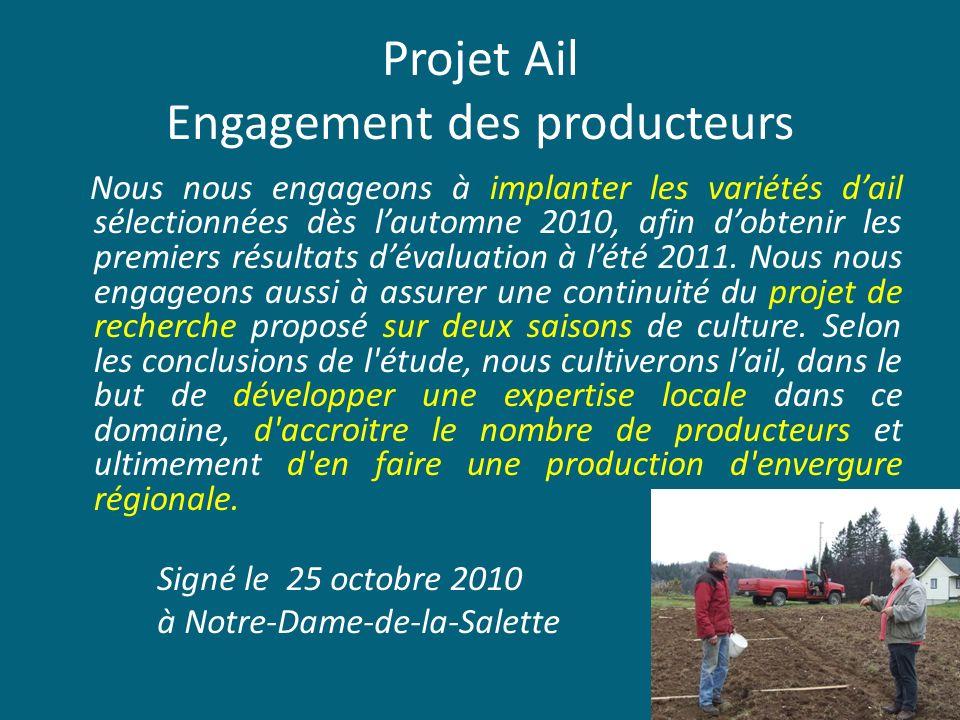 Projet Ail Engagement des producteurs Nous nous engageons à implanter les variétés dail sélectionnées dès lautomne 2010, afin dobtenir les premiers ré