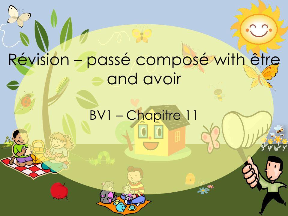 Révision – passé composé with être and avoir BV1 – Chapitre 11