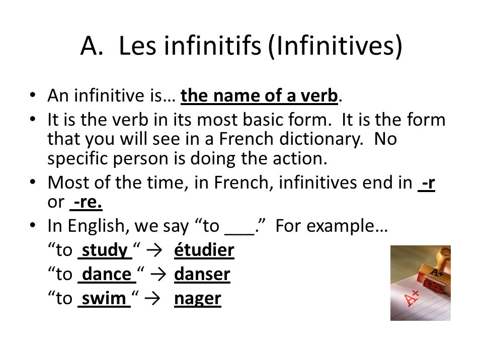 Les infinitifs Grammaire