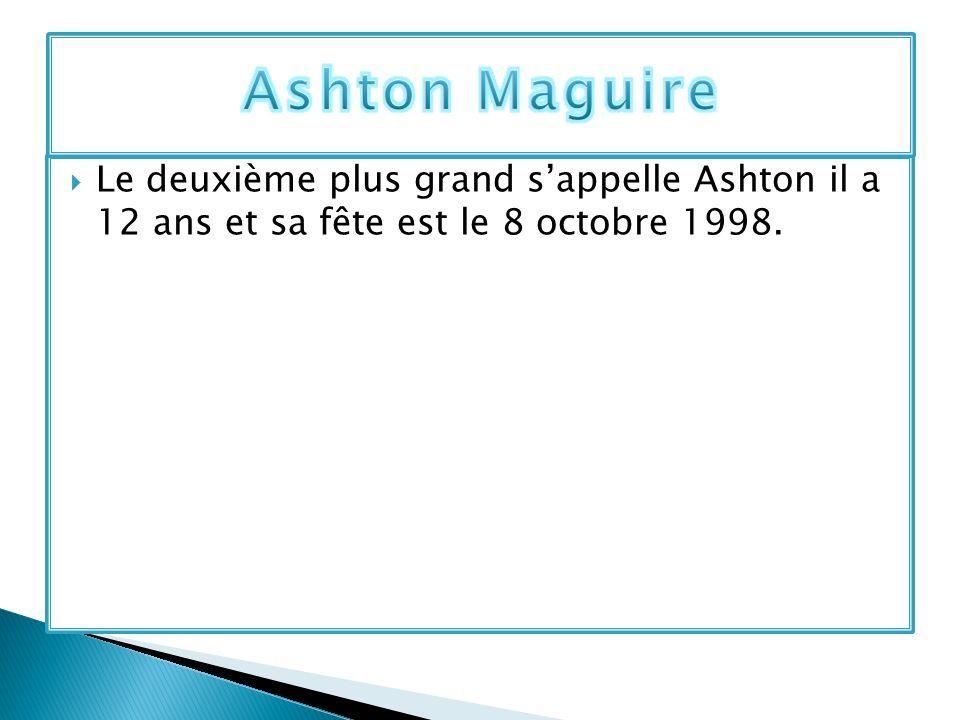 Le deuxième plus grand sappelle Ashton il a 12 ans et sa fête est le 8 octobre 1998.