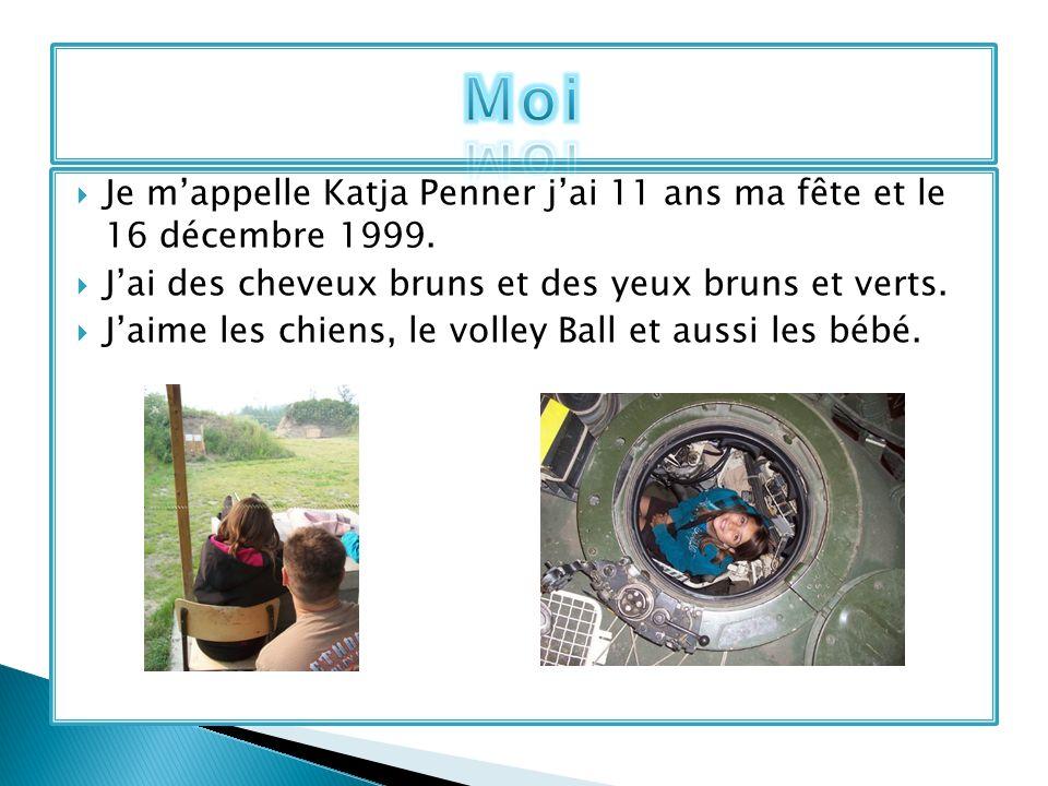 Je mappelle Katja Penner jai 11 ans ma fête et le 16 décembre 1999. Jai des cheveux bruns et des yeux bruns et verts. Jaime les chiens, le volley Ball