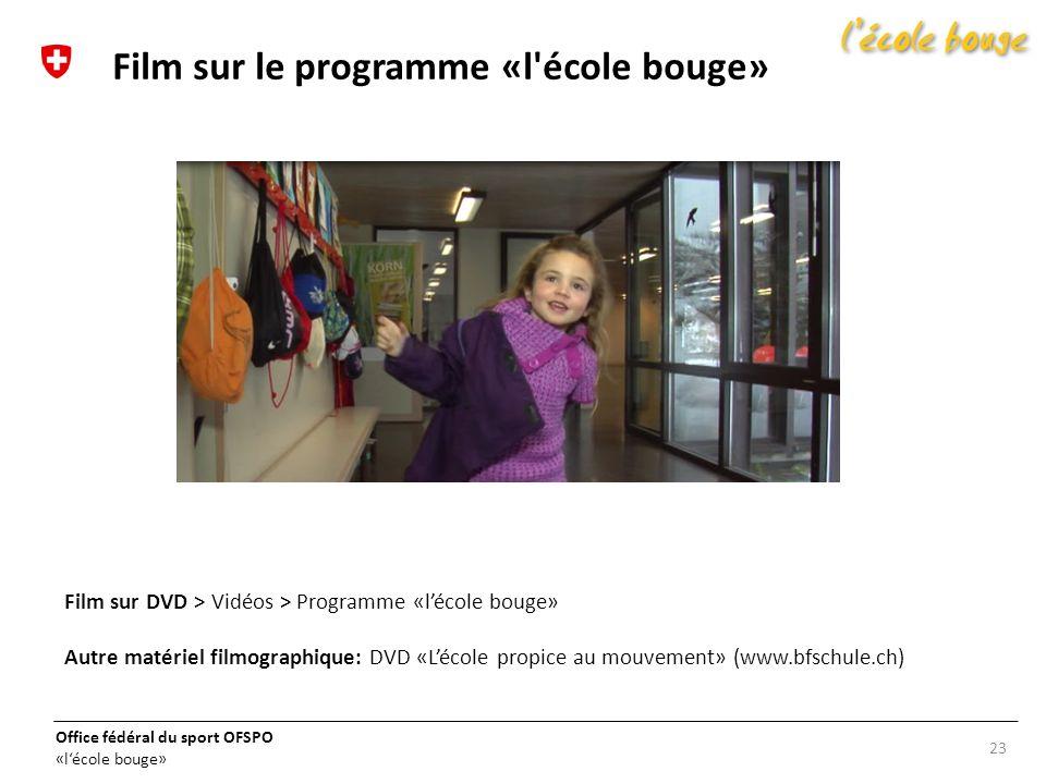 Office fédéral du sport OFSPO «lécole bouge» 23 Film sur le programme «l'école bouge» Film sur DVD > Vidéos > Programme «lécole bouge» Autre matériel