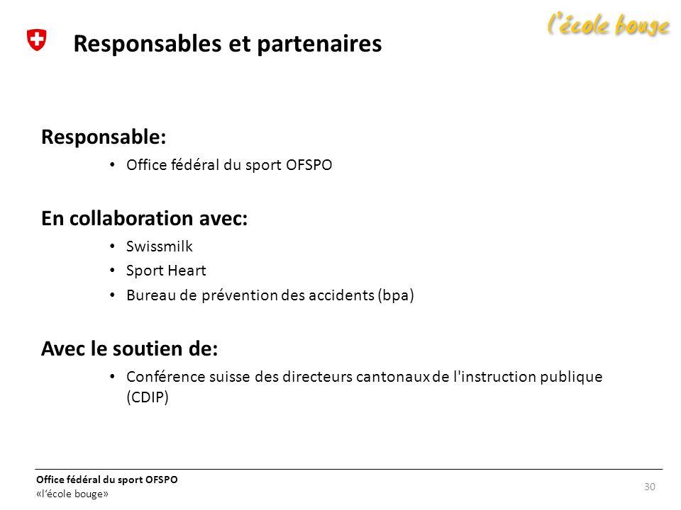 Office fédéral du sport OFSPO «lécole bouge» Responsable: Office fédéral du sport OFSPO En collaboration avec: Swissmilk Sport Heart Bureau de prévent