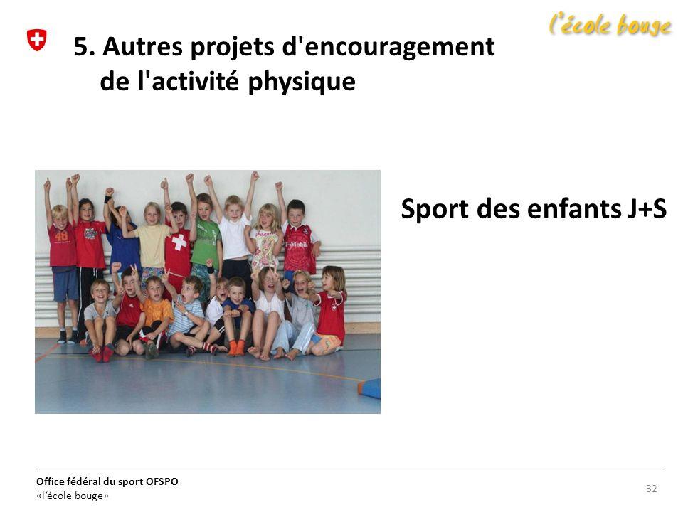 Office fédéral du sport OFSPO «lécole bouge» Sport des enfants J+S 32 5. Autres projets d'encouragement de l'activité physique
