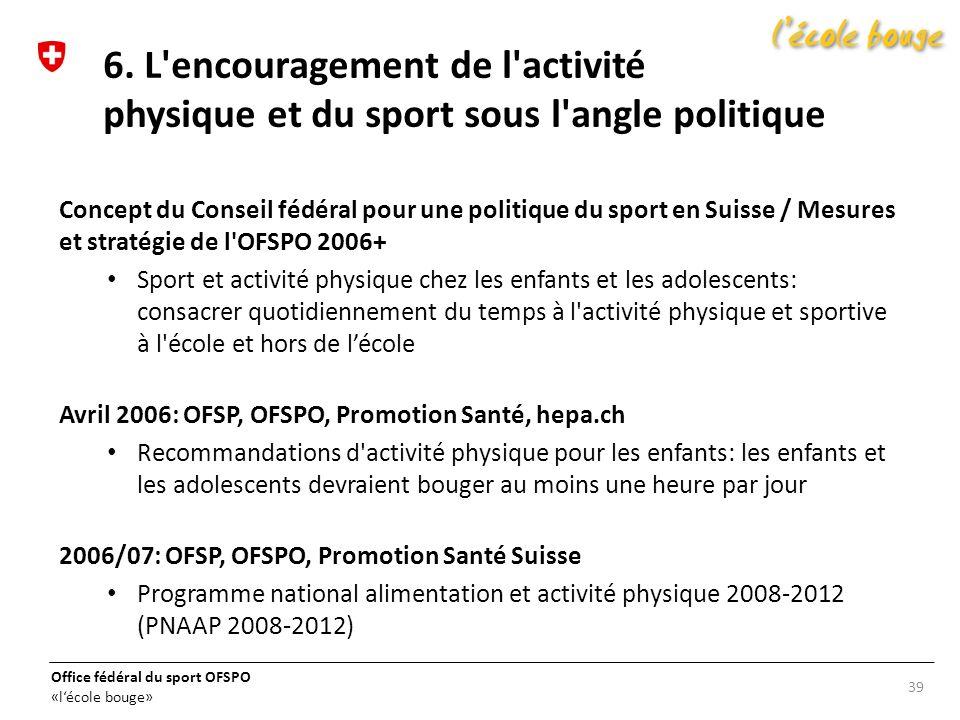 Office fédéral du sport OFSPO «lécole bouge» Concept du Conseil fédéral pour une politique du sport en Suisse / Mesures et stratégie de l'OFSPO 2006+