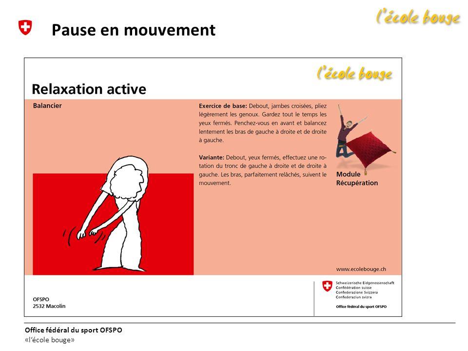 Office fédéral du sport OFSPO «lécole bouge» Pause en mouvement