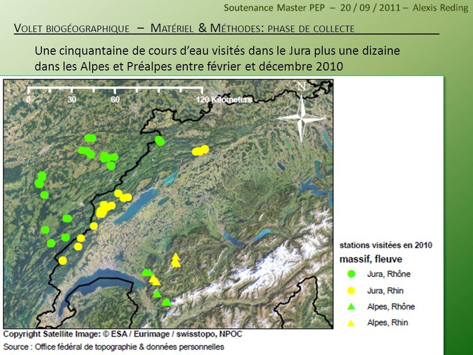 Une cinquantaine de cours deau visités dans le Jura plus une dizaine dans les Alpes et Préalpes entre février et décembre 2010 V OLET BIOGÉOGRAPHIQUE
