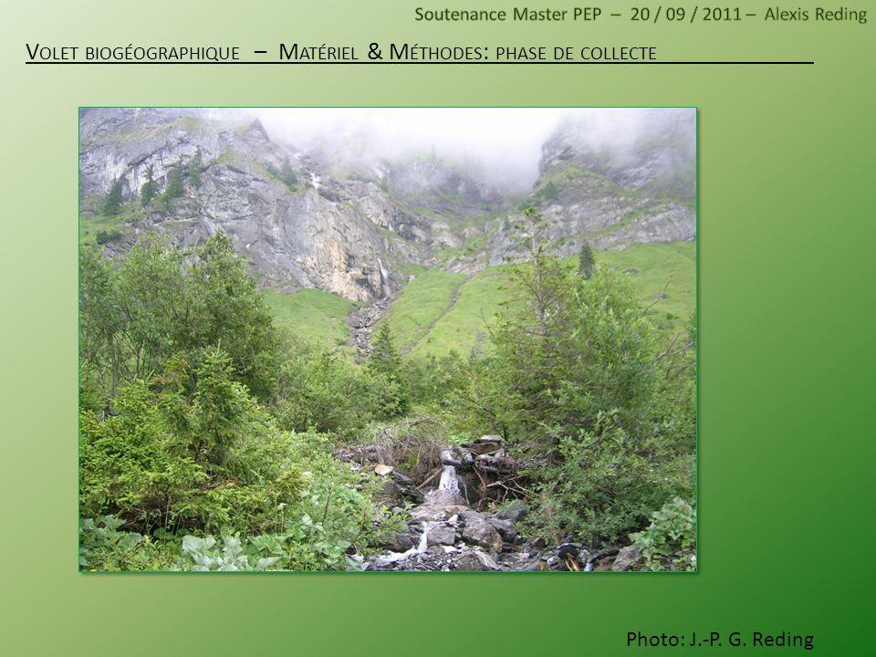 V OLET BIOGÉOGRAPHIQUE – M ATÉRIEL & M ÉTHODES : PHASE DE COLLECTE Photo: J.-P. G. Reding