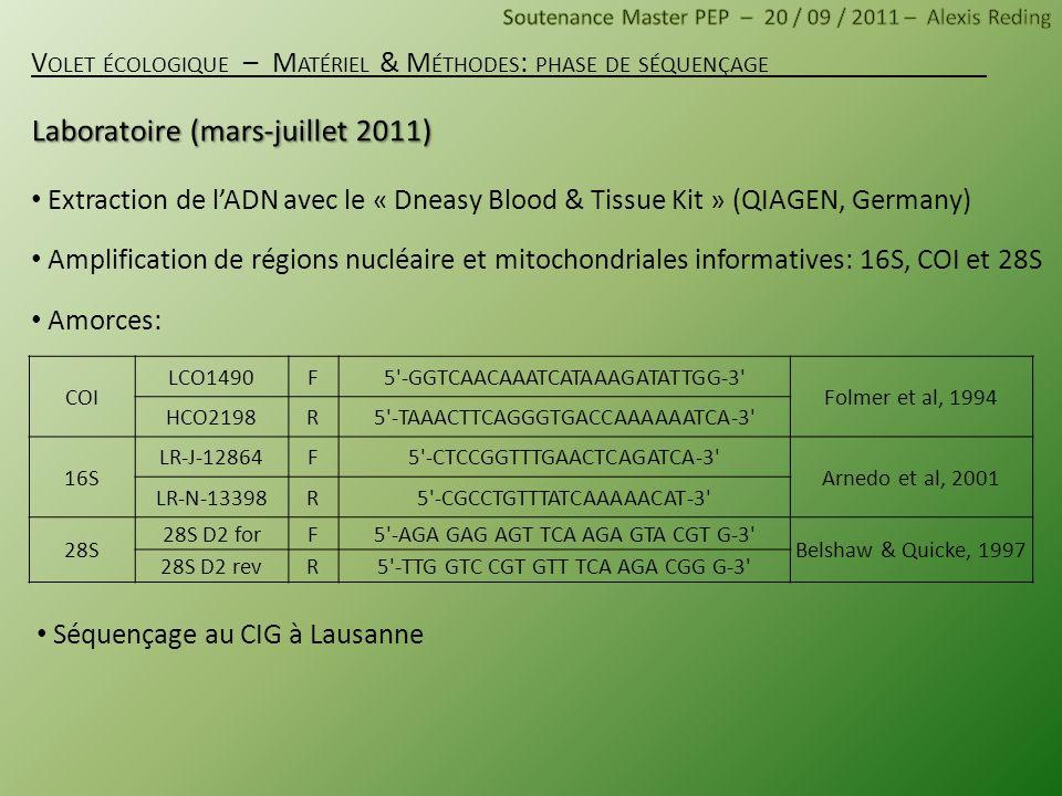Extraction de lADN avec le « Dneasy Blood & Tissue Kit » (QIAGEN, Germany) Amplification de régions nucléaire et mitochondriales informatives: 16S, CO