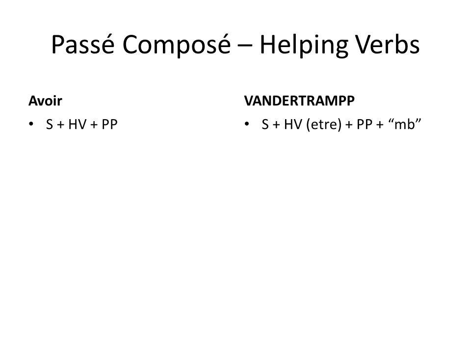 Passé Composé – Helping Verbs Avoir S + HV + PP VANDERTRAMPP S + HV (etre) + PP + mb