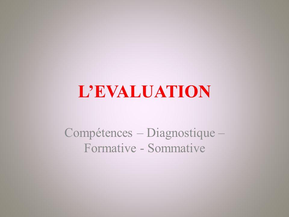LEVALUATION Compétences – Diagnostique – Formative - Sommative