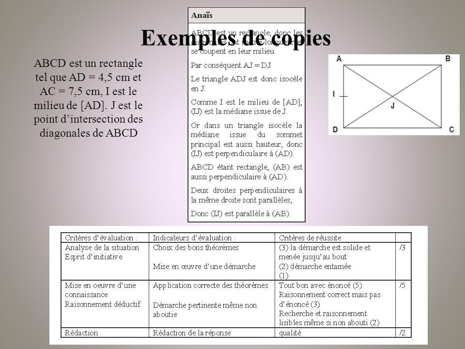 Exemples de copies ABCD est un rectangle tel que AD = 4,5 cm et AC = 7,5 cm, I est le milieu de [AD].