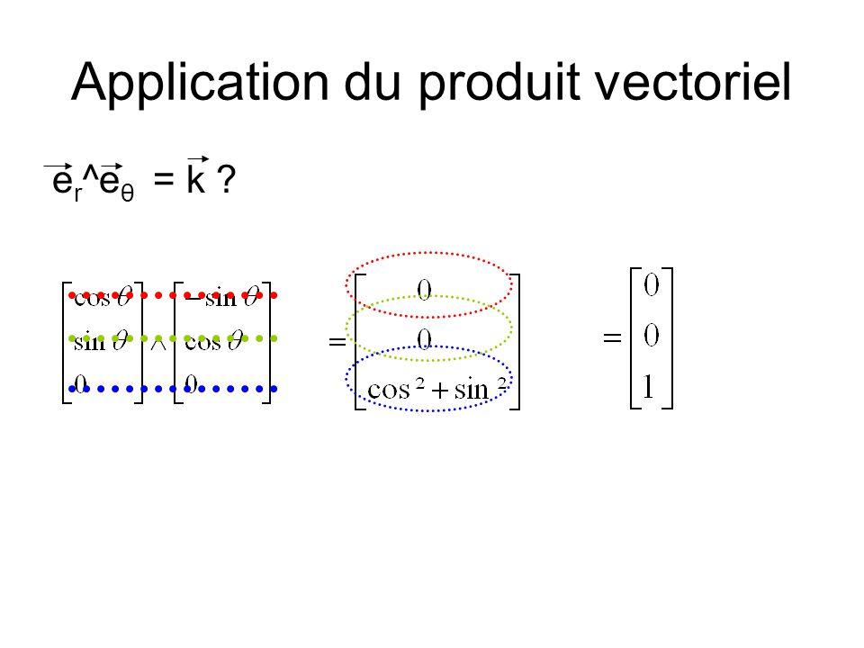 Application du produit vectoriel e r ^e θ = k ?