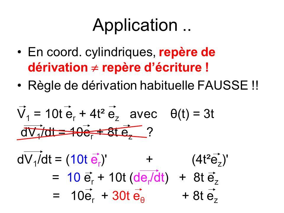 Application.. En coord. cylindriques, repère de dérivation repère d écriture ! Règle de dérivation habituelle FAUSSE !! V 1 = 10t e r + 4t² e z avec θ